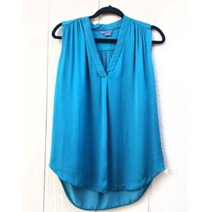 Vince Blue Green Sleeves loose Fit Blouse Top XS